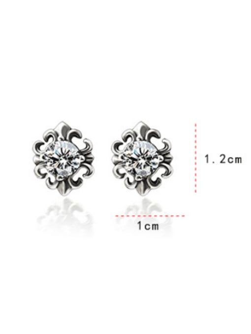 MAKA Titanium Steel Cubic Zirconia Flower Vintage Stud Earring 3