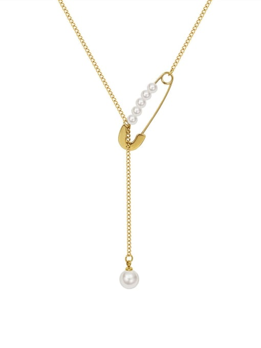 MAKA Titanium 316L Stainless Steel Geometric Vintage Lariat Necklace with e-coated waterproof 0