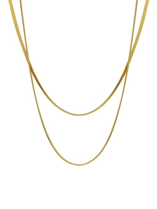 MAKA Titanium Steel Geometric Minimalist Multi Strand Necklace 0