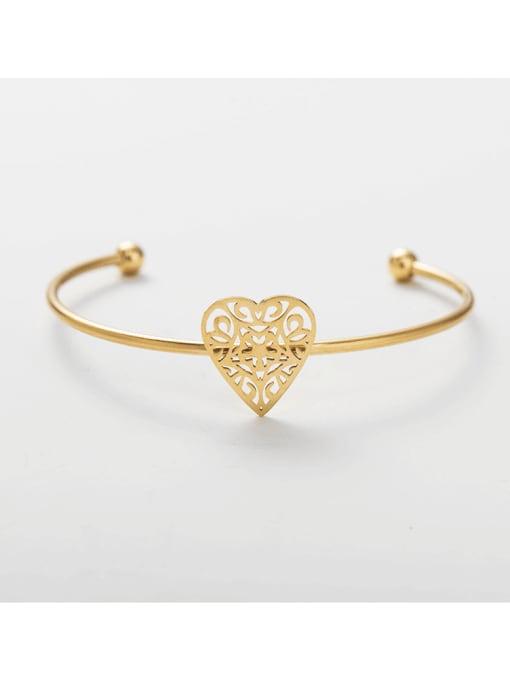YAYACH Stainless steel Heart Cuff Bangle 1