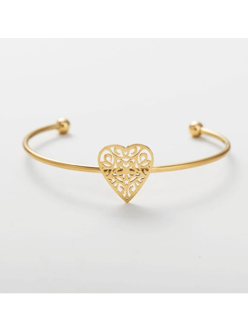 gold Stainless steel Heart Cuff Bangle