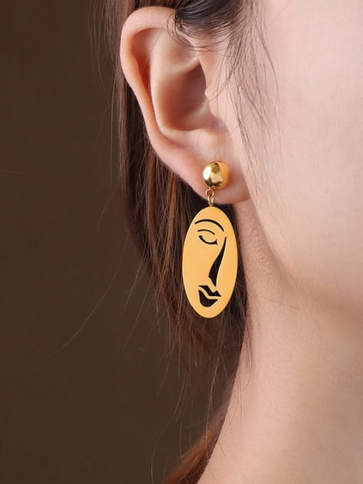 F258 Gold Earrings Titanium 316L Stainless Steel Oval Vintage Drop Earring with e-coated waterproof