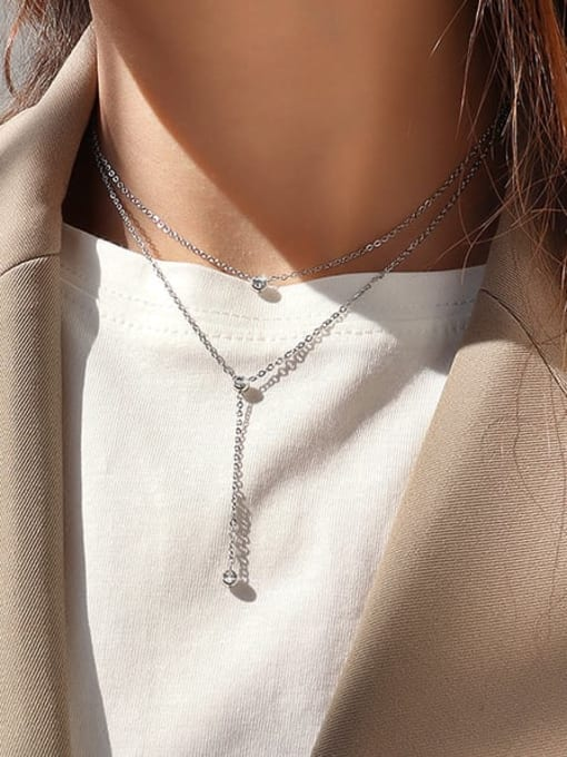 MAKA Titanium Steel Tassel Minimalist Multi Strand Necklace 3