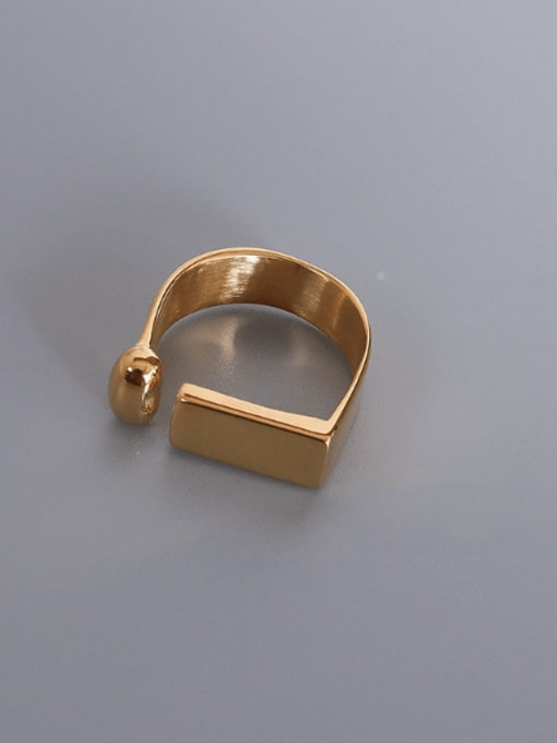Gold Titanium 316L Stainless Steel Geometric Minimalist Band Ring with e-coated waterproof