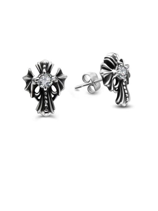 MAKA Titanium Steel Rhinestone Cross Vintage Stud Earring 0
