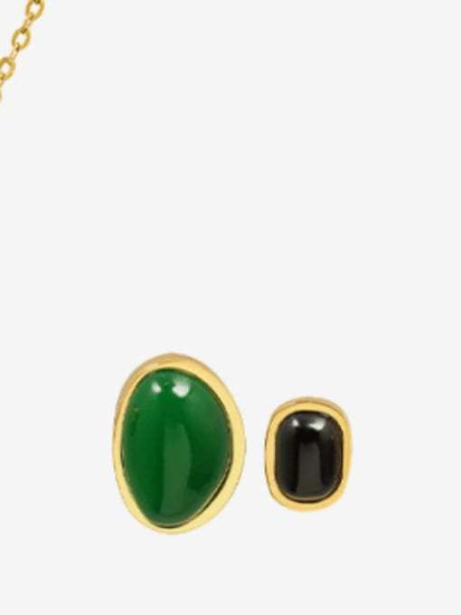 F445 gold agate asymmetric stud Titanium Steel Vintage Geometric  Agate Earring and Necklace Set