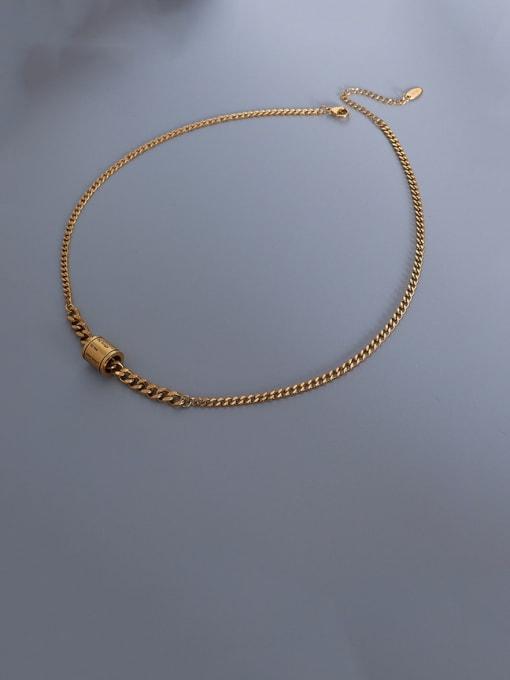 Gold Titanium Steel Geometric  Letter Vintage Necklace