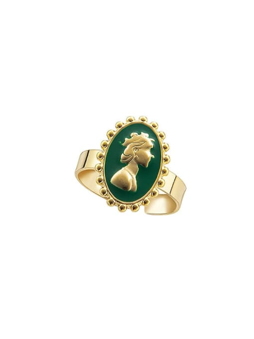 Green Head simple retro oil dripping stainless steel ring