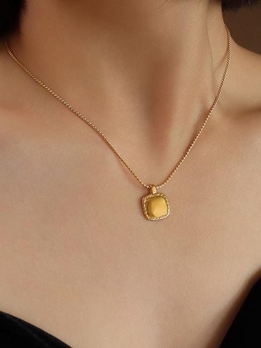 MAKA Titanium Steel Square Minimalist Necklace 1