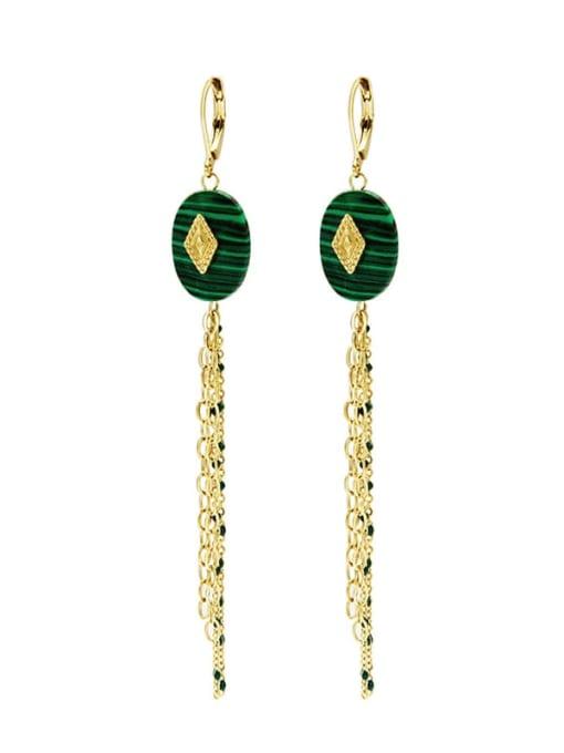 YAYACH Malachite long titanium steel earrings
