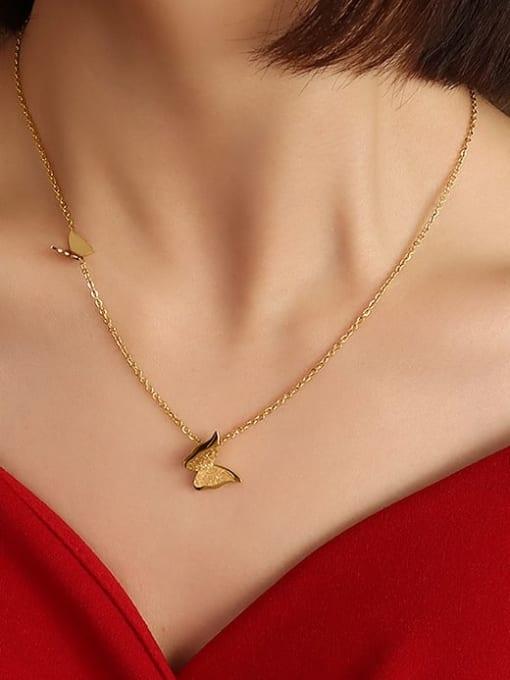 MAKA Titanium Steel Butterfly Cute Necklace 1