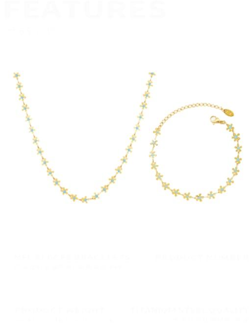 MAKA Titanium Steel Enamel Minimalist Flower  Bracelet and Necklace Set 0