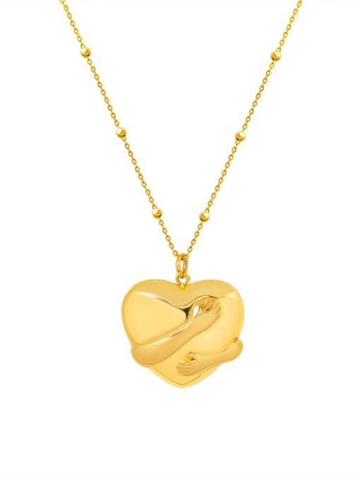 MAKA Titanium Steel Vintage Smooth Heart  Pendant Necklace 0