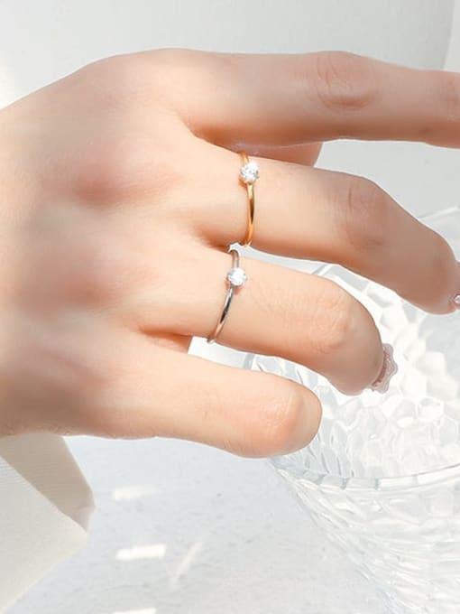 MAKA Titanium Steel Cubic Zirconia Geometric Minimalist Band Ring 2