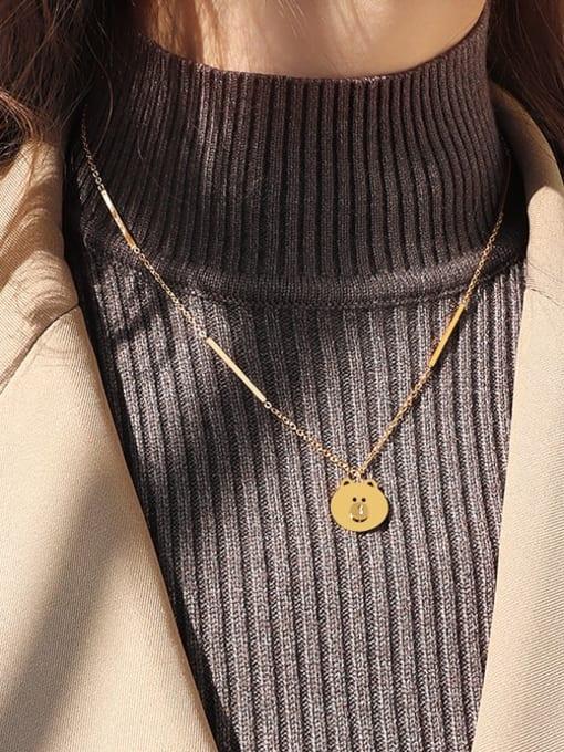 Gold necklace 42 +5cm Titanium Steel Bear Cute Necklace