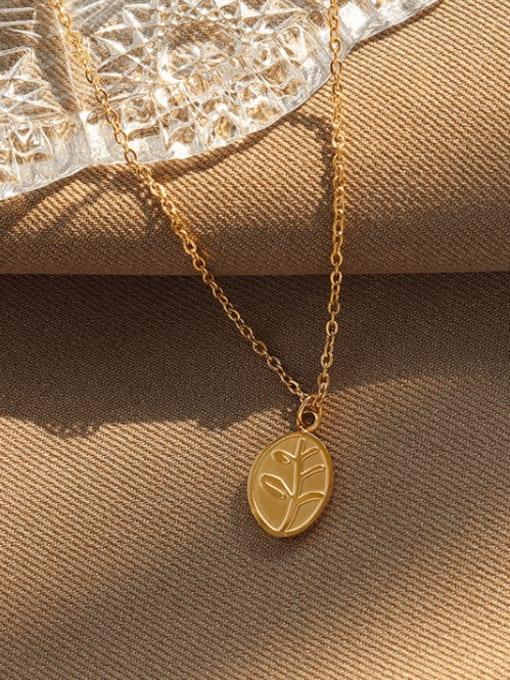 Gold Titanium Steel Oval Vintage Necklace