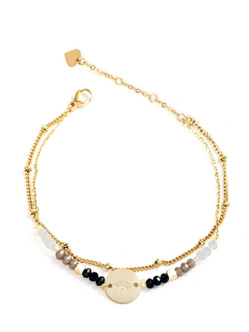 Black Stainless steel Bead Round Bohemia Link Bracelet