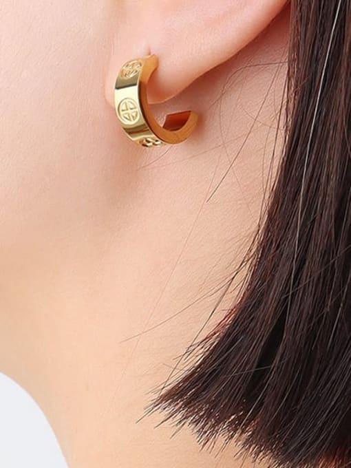 F335 gold cross embossed pair Titanium Steel Rhinestone Geometric Minimalist Stud Earring