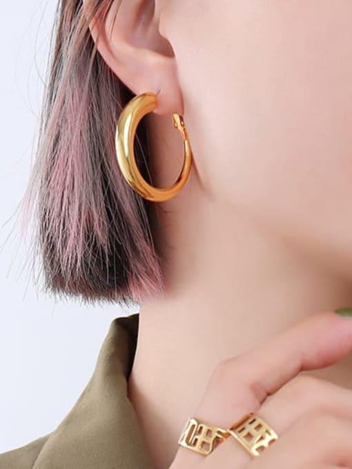 F237 gold earrings small Titanium Steel Geometric Minimalist Hoop Earring