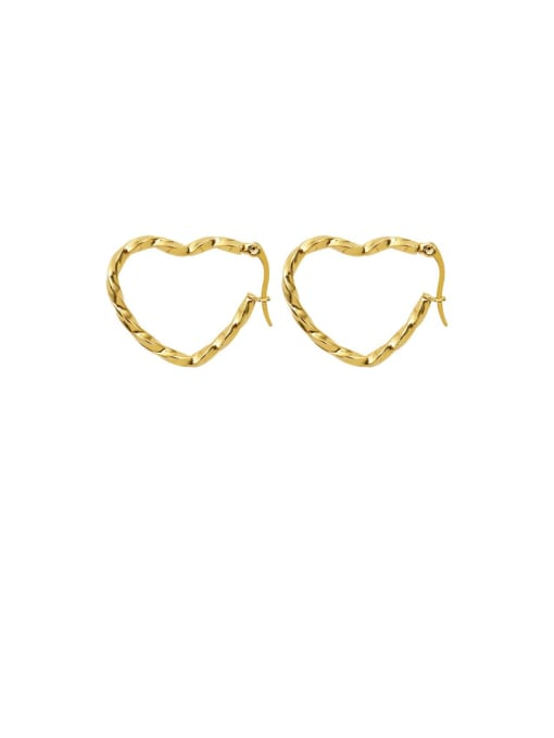 MAKA Titanium Steel Hollow Heart Minimalist Huggie Earring 0