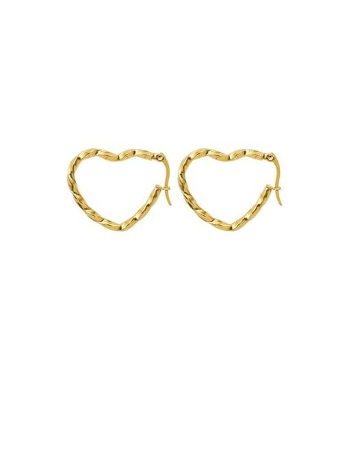 MAKA Titanium Steel Hollow Heart Minimalist Huggie Earring