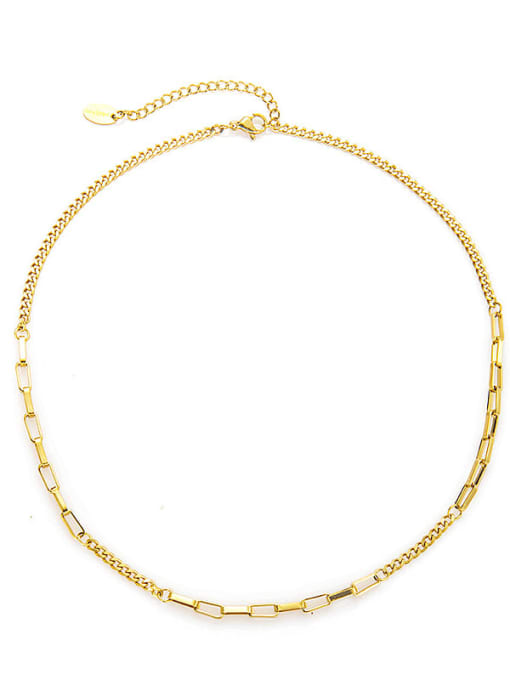 YAYACH Checked clavicle all-match round bead titanium steel necklace