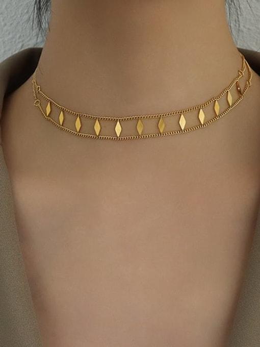 MAKA Titanium Steel Geometric Vintage Choker Necklace 1