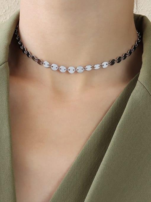 Steel thick disc collar 30+8cm Titanium Steel Smooth Geometric Vintage Necklace