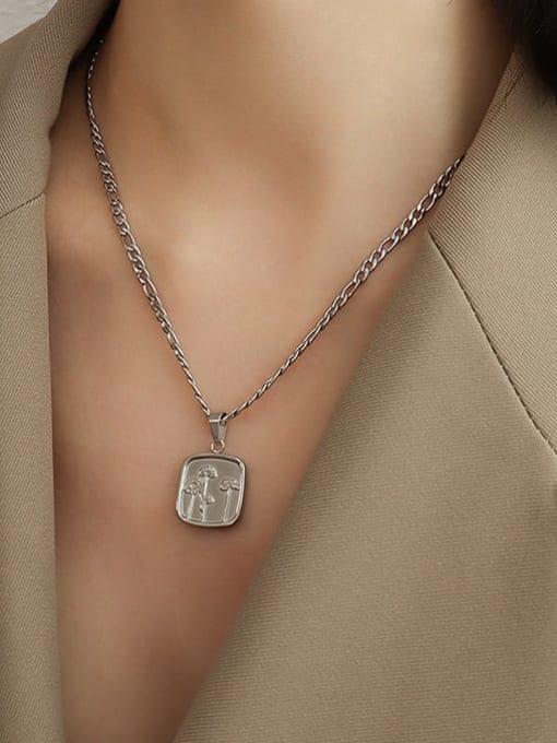 Steel texture Flower Necklace 40+5cm Titanium Steel Geometric  Flower Vintage Necklace