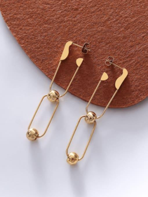Gold Earrings Titanium Steel Hollow Geometric Hip Hop Drop Earring
