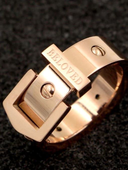 K.Love Titanium Steel Geometric Hip Hop Band Ring 1