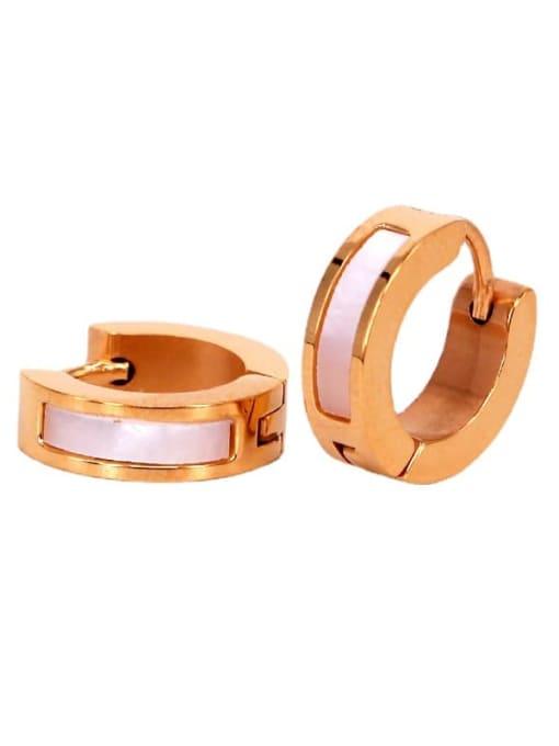 K.Love Titanium Steel Shell Geometric Minimalist Huggie Earring 3