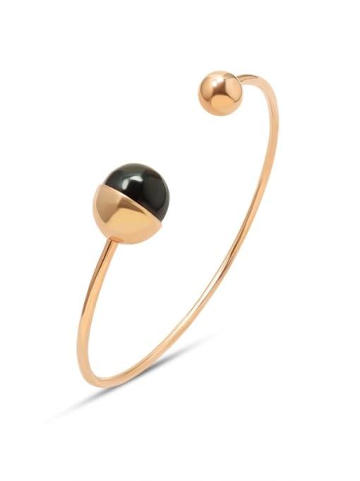 Rose Gold Titanium Steel Bead Geometric Minimalist Cuff Bangle