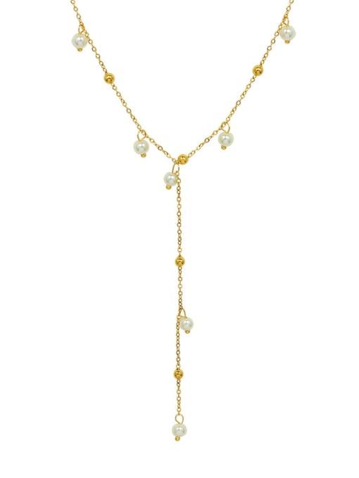 MAKA Titanium 316L Stainless Steel Imitation Pearl Geometric Vintage Tassel Necklace with e-coated waterproof