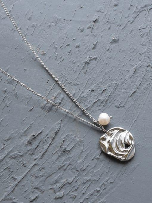 MAKA Titanium Steel Imitation Pearl Irregular Minimalist Necklace 2