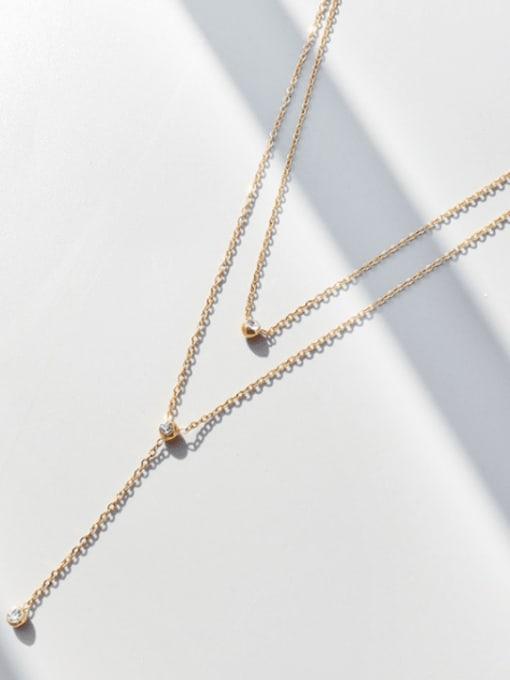 MAKA Titanium Steel Tassel Minimalist Multi Strand Necklace 2