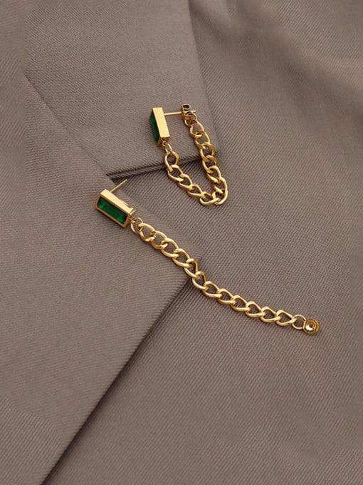 gold+ black Zircon Titanium Steel Cubic Zirconia Geometric Chain Ethnic Drop Earring