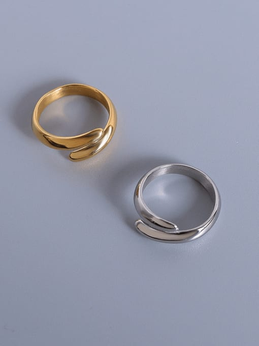 MAKA Titanium Steel Smooth Geometric Minimalist Stackable Ring 0