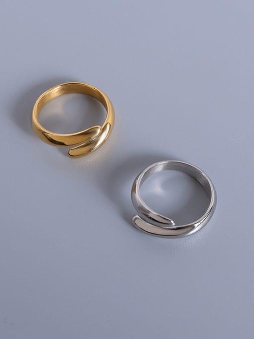 MAKA Titanium Steel Smooth Geometric Minimalist Stackable Ring