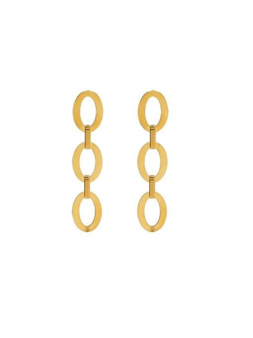 gold Titanium Steel Hollow Geometric Minimalist Drop Earring