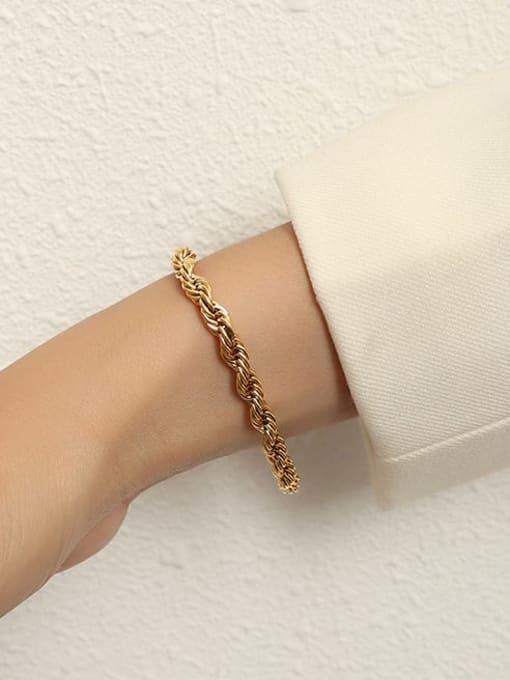 MAKA Titanium Steel Geometric Artisan Link Bracelet 1