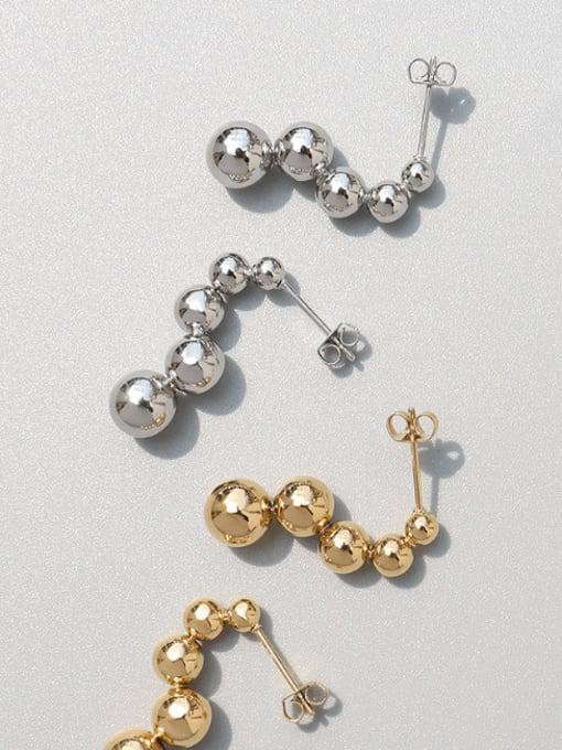 MAKA Titanium Steel Bead Tassel Minimalist Drop Earring 2