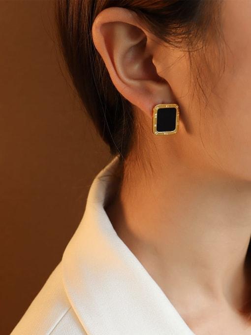 Gold Black Titanium Steel Shell Geometric Minimalist Stud Earring