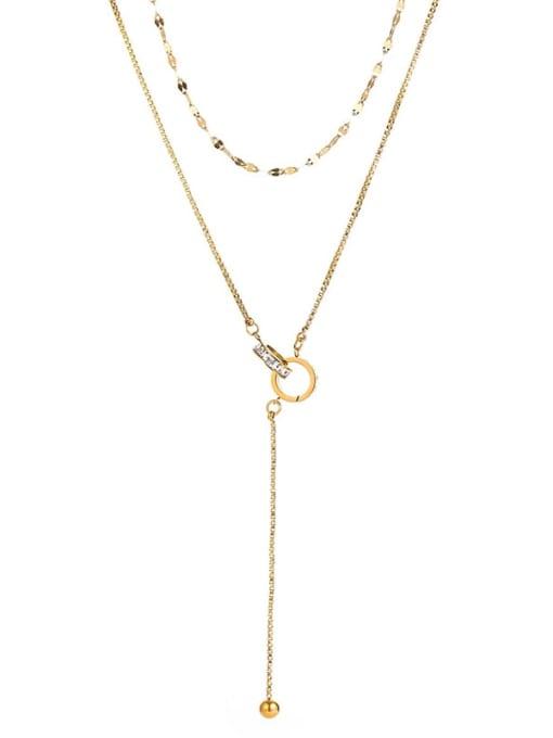 Gold Double necklaces Titanium Steel Tassel Minimalist Multi Strand Necklace