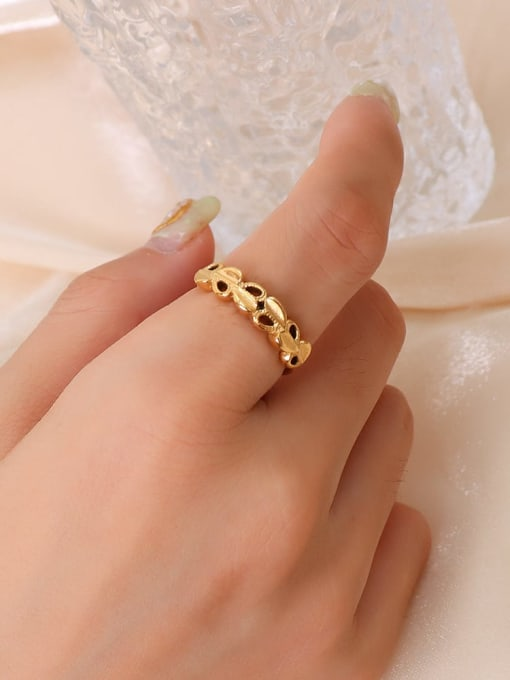 A226 gold ring Titanium Steel Hollow Heart Hip Hop Band Ring