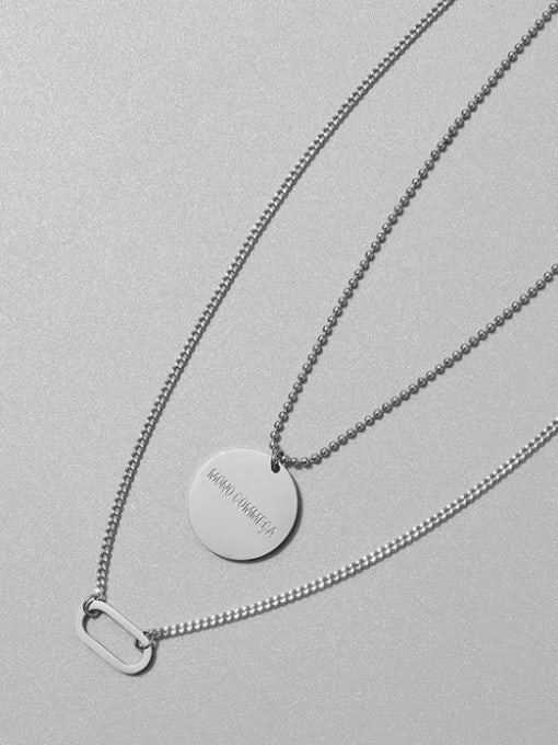 MAKA Titanium Steel Geometric Vintage Multi Strand Necklace 2
