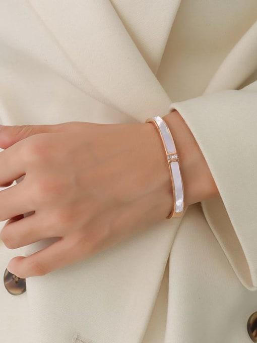 Z063 rose golden white shell Titanium Steel Shell Geometric Minimalist Band Bangle