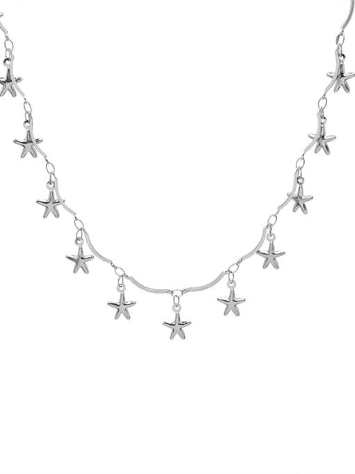P991 steel five pointed star Titanium Steel Heart Minimalist Necklace