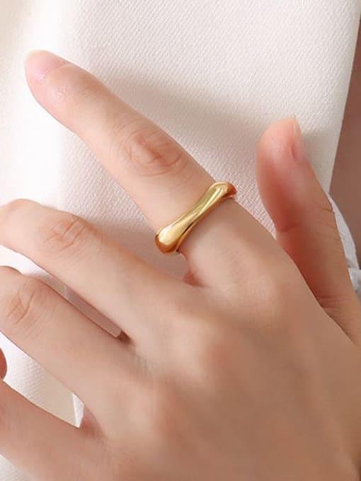 A114 gold ring Titanium Steel  Smooth Geometric Minimalist Band Ring
