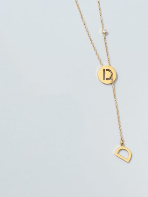 D letter gold necklace Titanium Steel Tassel Minimalist Lariat Necklace